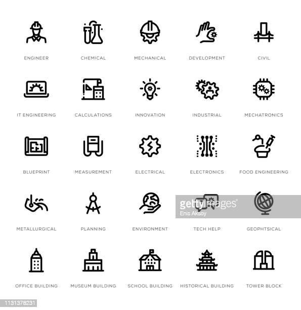ilustraciones, imágenes clip art, dibujos animados e iconos de stock de conjunto de iconos de línea de ingeniería - ingeniero civil