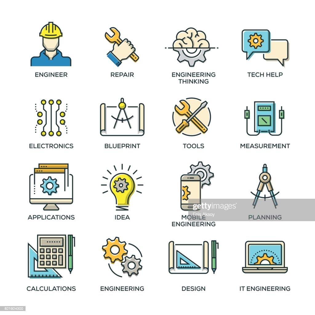 Engineering Line Icon Set : stock illustration