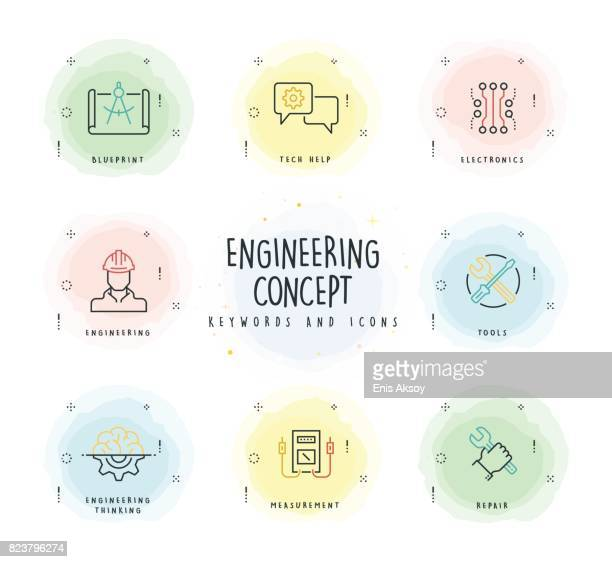 Engineering Line Icon Set with Watercolor Patch