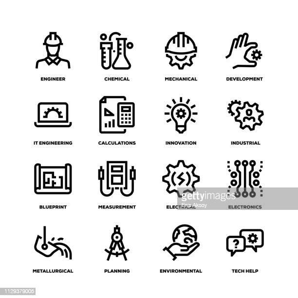 ilustraciones, imágenes clip art, dibujos animados e iconos de stock de iconos de línea ingeniería - ingeniero civil