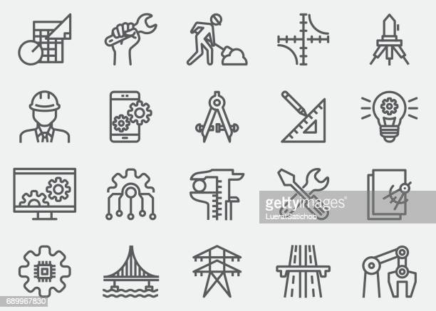 engineering line icons - computer part stock illustrations