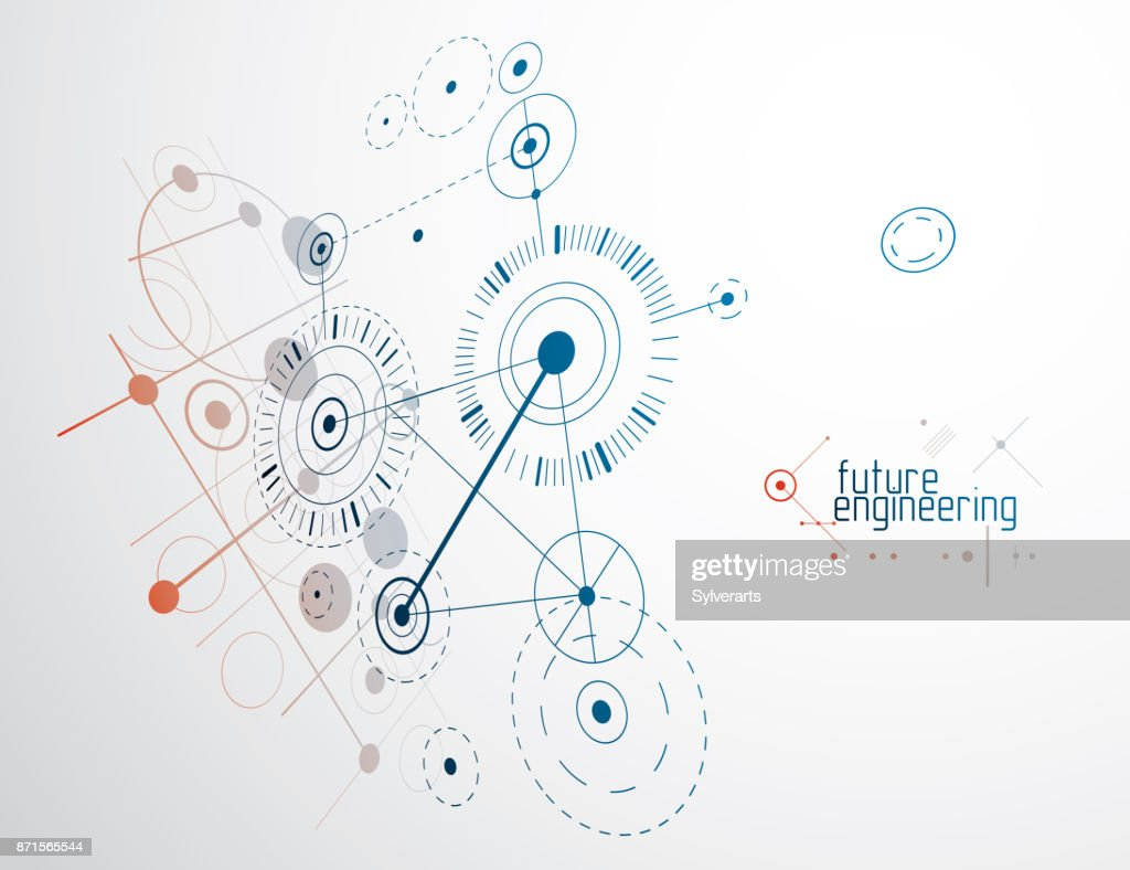 Engineering Technology Vector Wallpaper Made With Circles And Lines Technical Art
