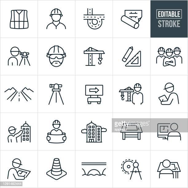 illustrazioni stock, clip art, cartoni animati e icone di tendenza di progettare icone a linee sottili - tratto modificabile - ingegneria