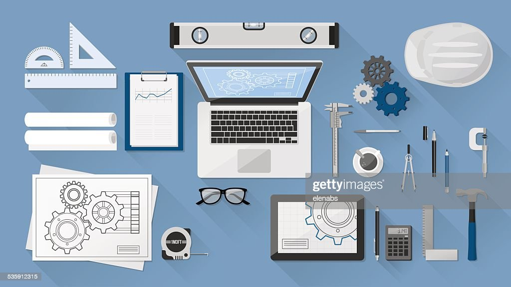 Engineer's desk : Vector Art