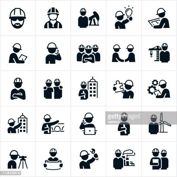 engineers icons - construction industry stock illustrations
