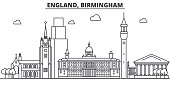 England, Birmingham architecture line skyline illustration. Linear vector cityscape with famous landmarks, city sights, design icons. Landscape wtih editable strokes