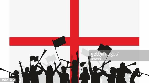 illustrations, cliparts, dessins animés et icônes de drapeau et les fans de l'angleterre - drapeau anglais