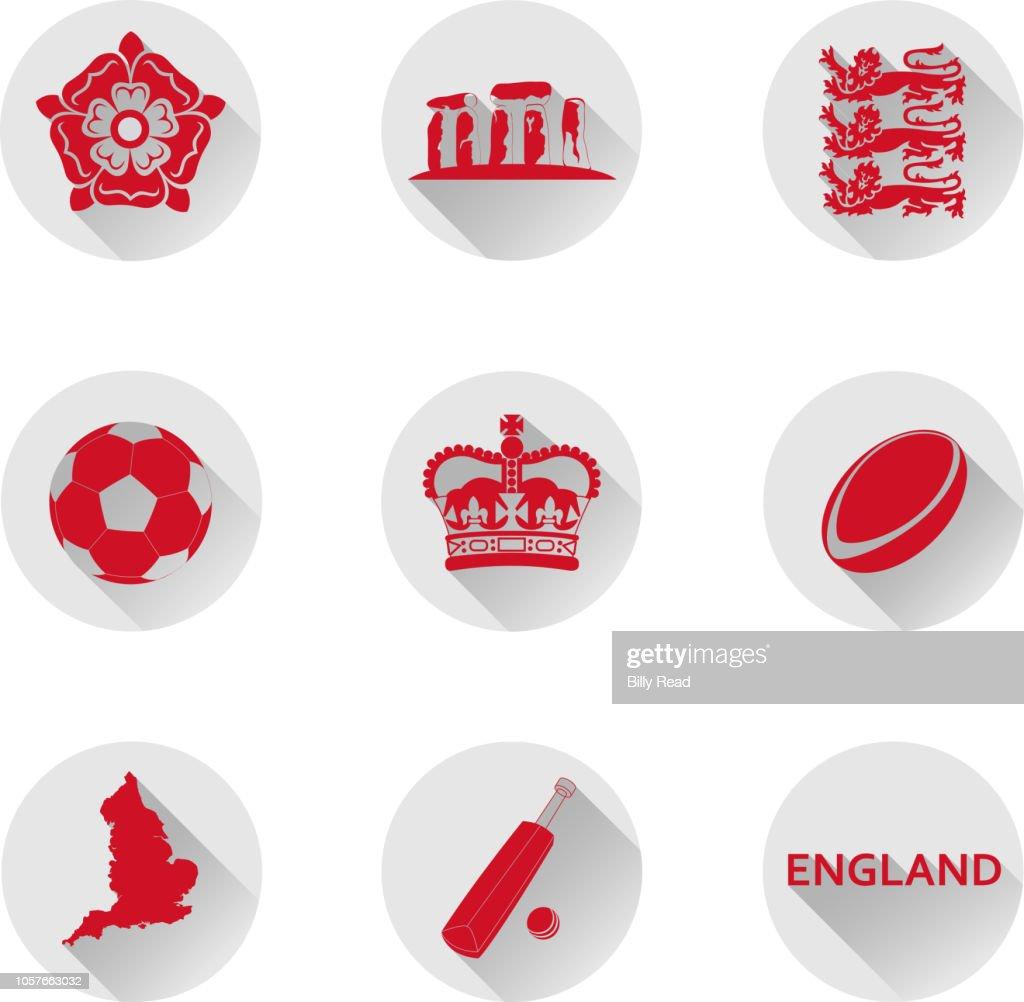 England Flat Icon Set