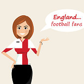 England football fans.Cheerful soccer fans, sports images.Young woman,Pretty girl sign.Happy fans are cheering for their team.Vector illustration