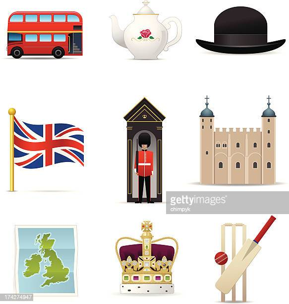 england icons - english culture stock illustrations