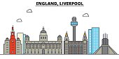 England, Liverpool. City skyline: architecture, buildings, streets, silhouette, landscape, panorama, landmarks. Editable strokes. Flat design line vector illustration concept. Isolated icons set