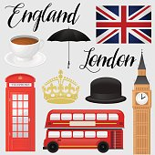 England, London - symbolic icon set illustration.