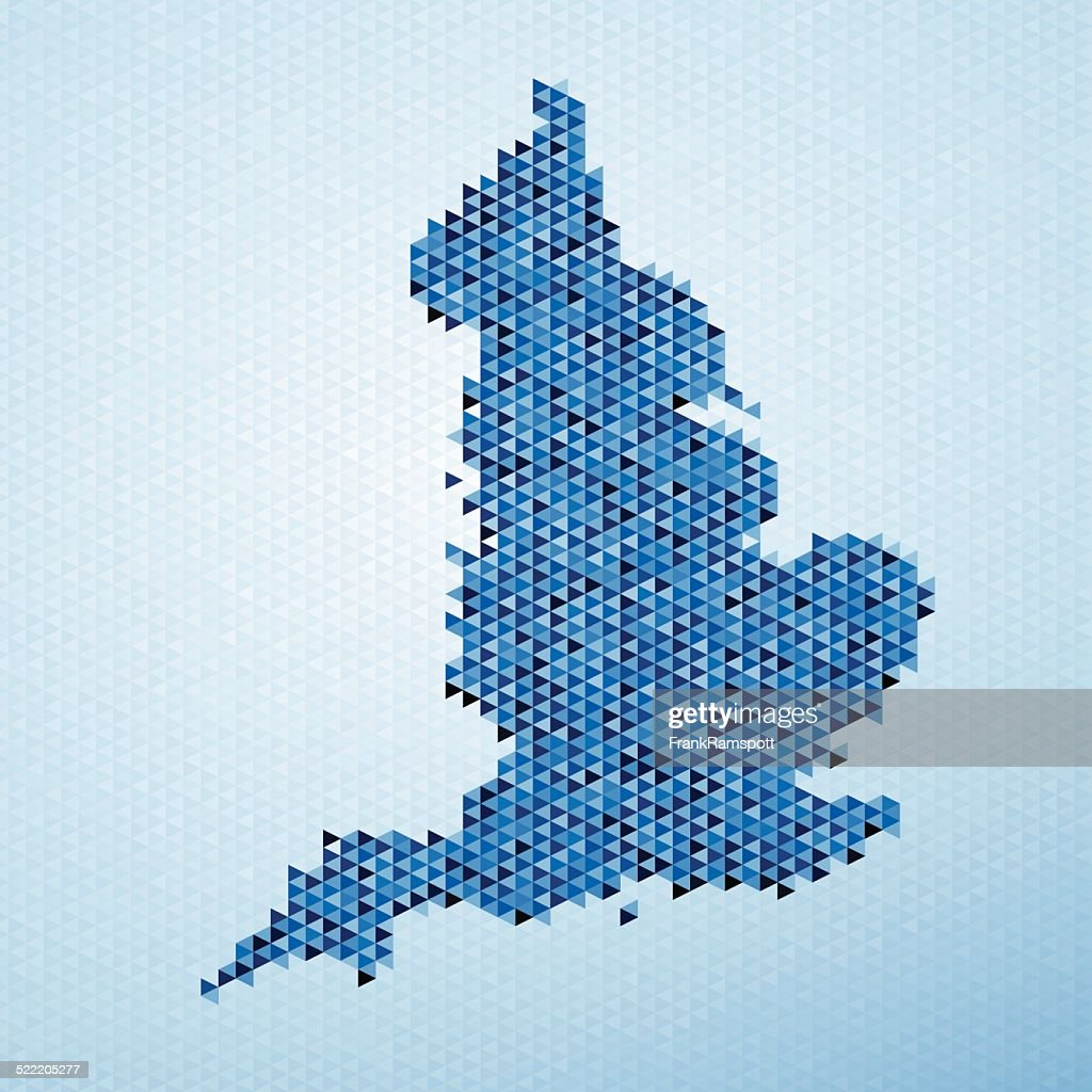 England Map Triangle Pattern Blue : Stockillustraties