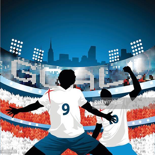 illustrations, cliparts, dessins animés et icônes de angleterre marque un but! - drapeau anglais
