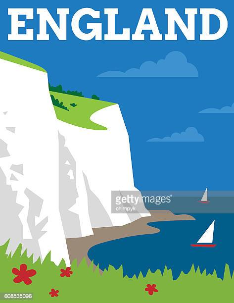 england travel poster - dover england stock illustrations
