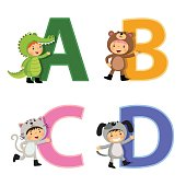 English alphabet with kids in animal costume