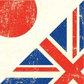 English and Japan grunge Flag