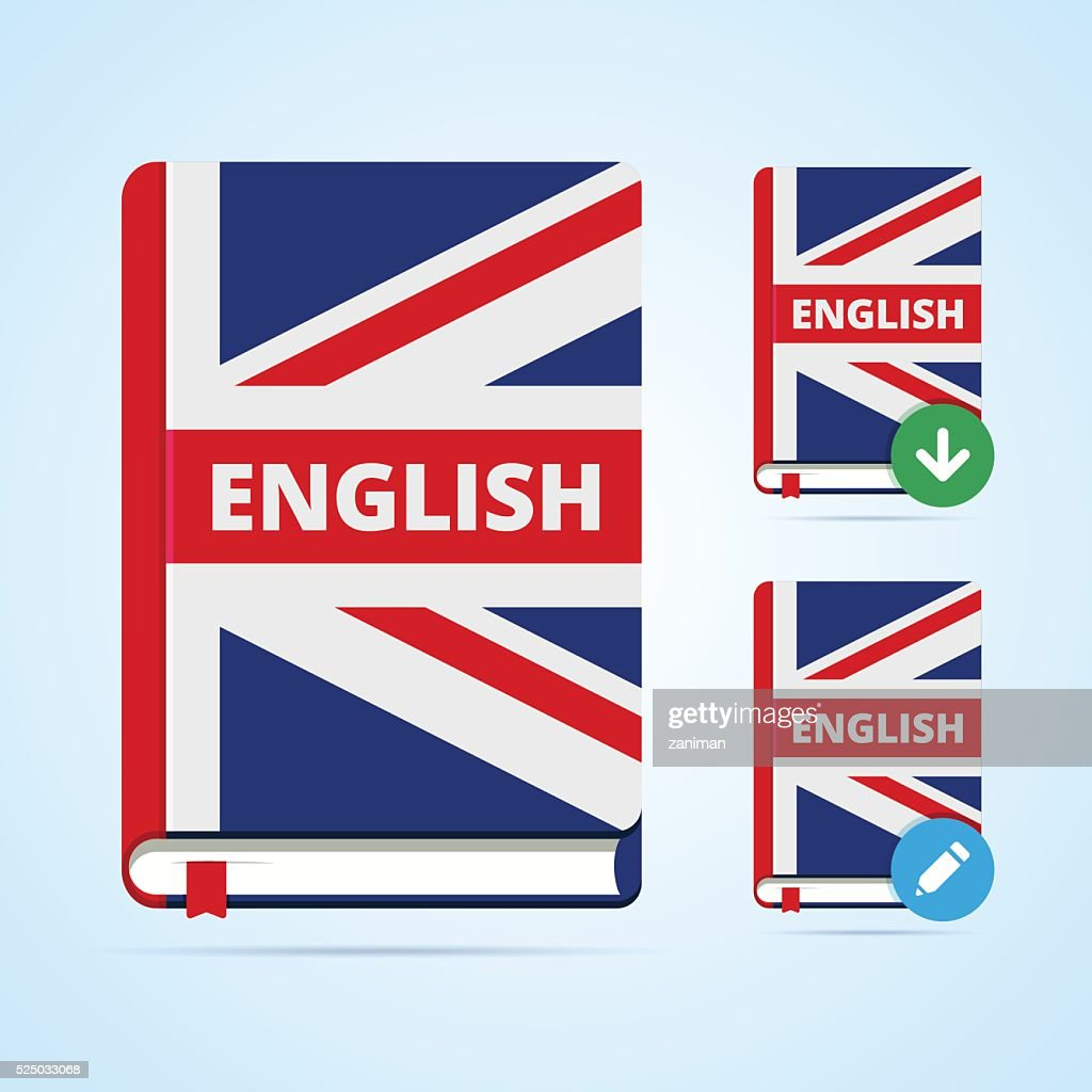 English book illustration with download and edit icons.