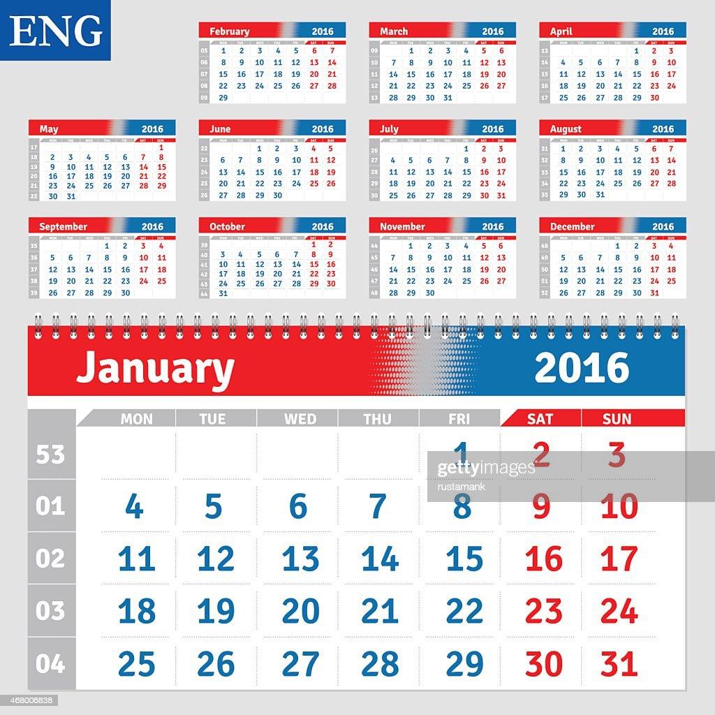 English calendar 2016