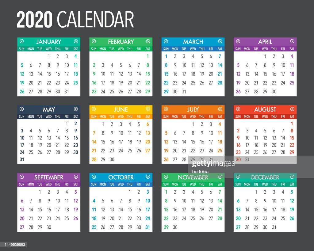 Vector De Calendario 2020.2020 English Calendar Template Design High Res Vector