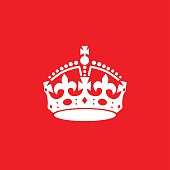 English crown icon isolated on red background.
