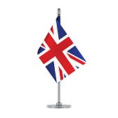 English flag hanging on the metallic pole, vector illustration