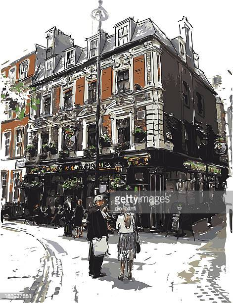 stockillustraties, clipart, cartoons en iconen met english pub - café bar gebouw