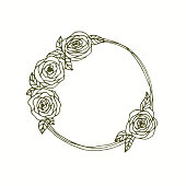 English roses monogram wreath hand drawn line art.