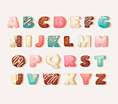English sweet donut alphabet abc Children's Alphabet. Alphabetical set  in bakery doughnuts style. Greeting party vector font.
