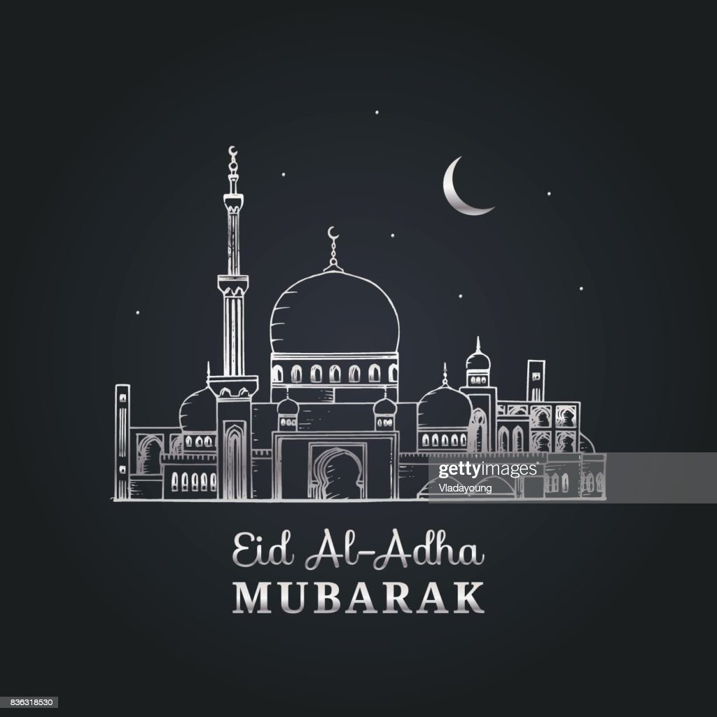 English translation from arabic Feast of the Sacrifice graphic poster.Greeting card with Eid al-Adha Mubarak calligraphy