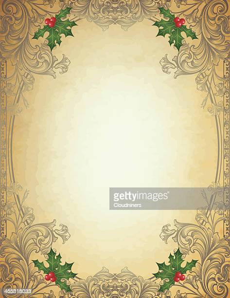 engraved christmas frame on parchment - sepia stock illustrations