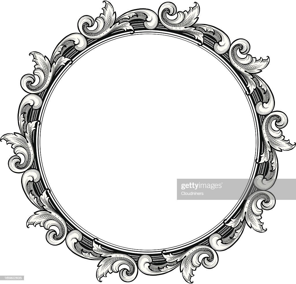 Engraved Circle Scroll Frame Vector Art   Getty Images