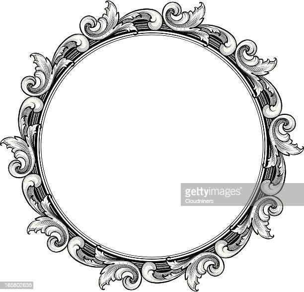 engraved circle scroll frame - art nouveau stock illustrations, clip art, cartoons, & icons