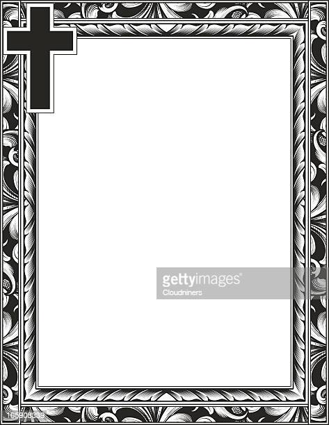 engraved cross and scroll frame - religion stock illustrations