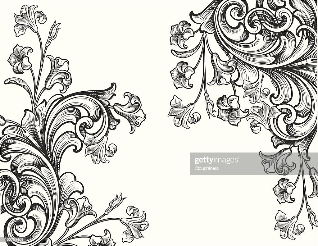 Engraved Floral Corners