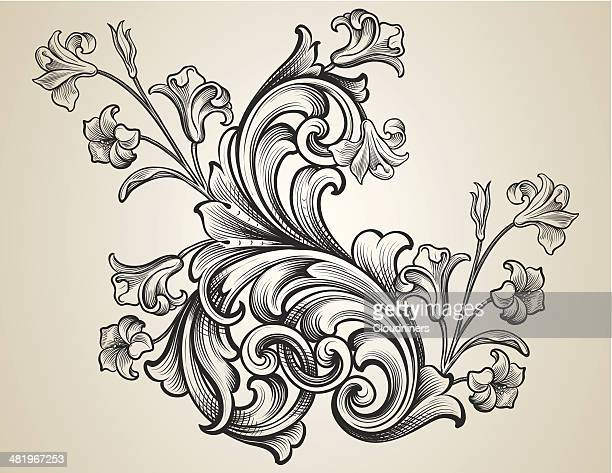 engraved floral scrolls - art nouveau stock illustrations, clip art, cartoons, & icons