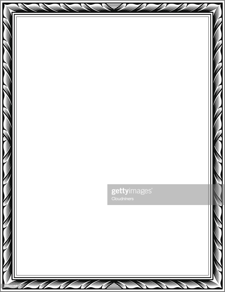 engraved frame vector art - Engraved Picture Frame