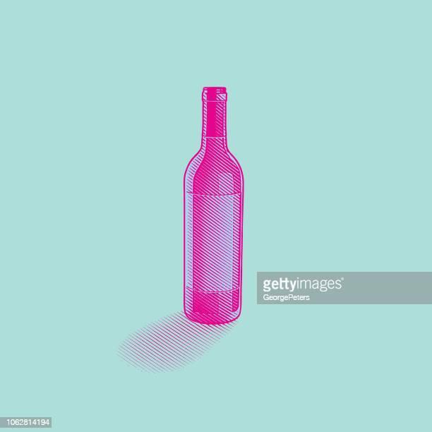 ilustraciones, imágenes clip art, dibujos animados e iconos de stock de grabado ilustración de una botella de vino - botella de vino