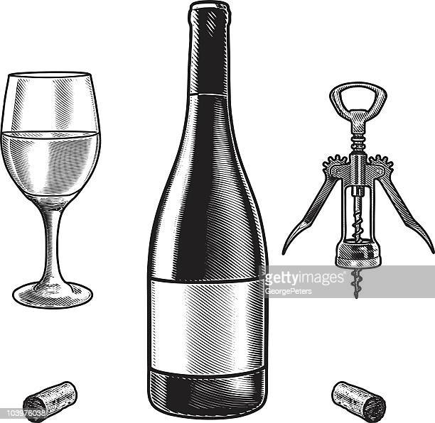 Engraved illustration of wine bottle and glass