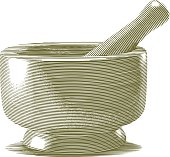 Engraved Mortar and Pestle