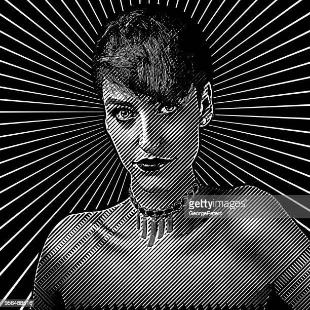 Gravierte Portrait einer Frau mit einem unzufrieden Gesichtsausdruck