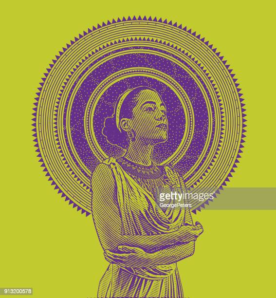 engraved portrait of a young mixed race woman framed with stars and space - black civil rights stock illustrations, clip art, cartoons, & icons