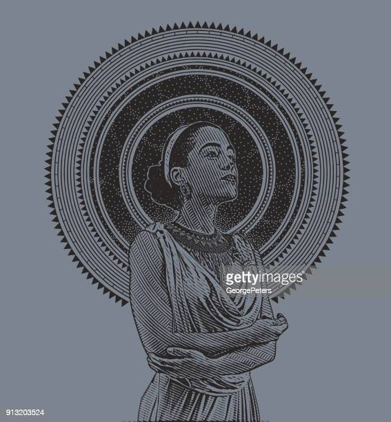 engraved portrait of a young mixed race woman framed with stars and space - me too social movement stock illustrations, clip art, cartoons, & icons