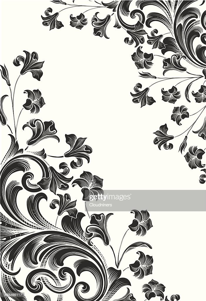 engraved Scrollwork Floral Corners