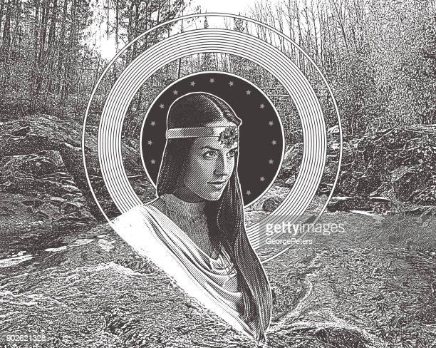 engraving and stipple vector of mother nature with stream and forest background - indigenous north american culture stock illustrations, clip art, cartoons, & icons