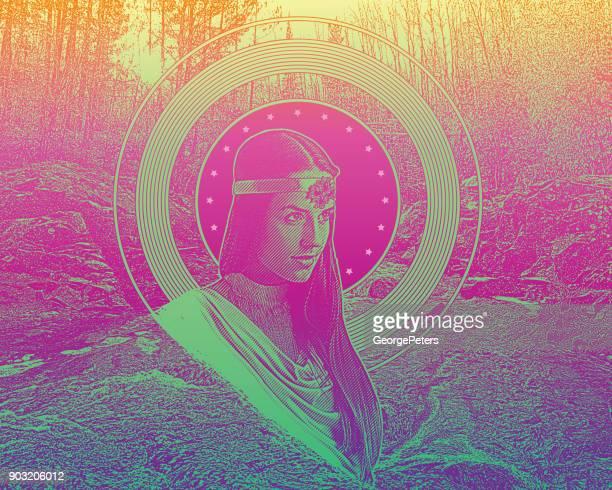 ilustraciones, imágenes clip art, dibujos animados e iconos de stock de grabado y stipple el vector de la madre naturaleza con arroyo y bosque - roman goddess
