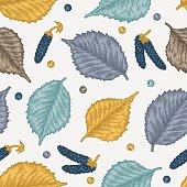 Engraving autumn birch seamless pattern.
