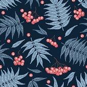 Engraving autumn rowanberry seamless pattern.