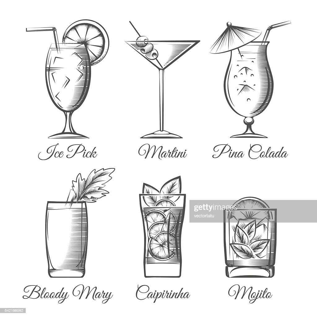 Engraving cocktails vector