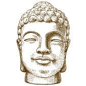 engraving drawing illustration of stone buddha head